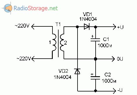 Принципиальная схема конденсаторного выпрямителя