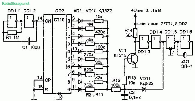 Модулятор стекла на микросхемах К561ЛН2 и К561ИЕ8