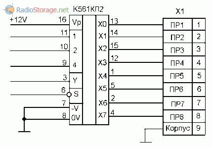 Схема выхода систему ДУ на микросхеме К561КП2