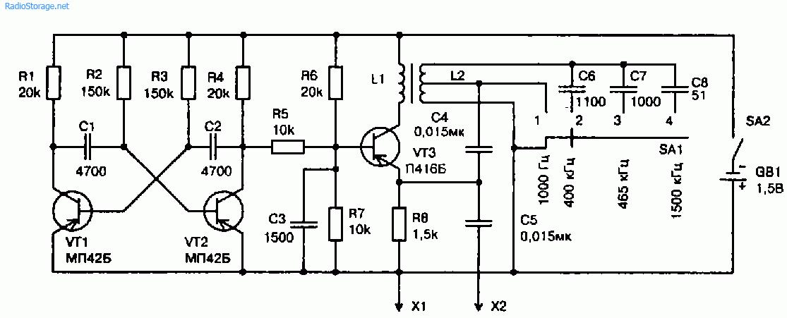 Схема генератора-пробника с использованием катушки индуктивности