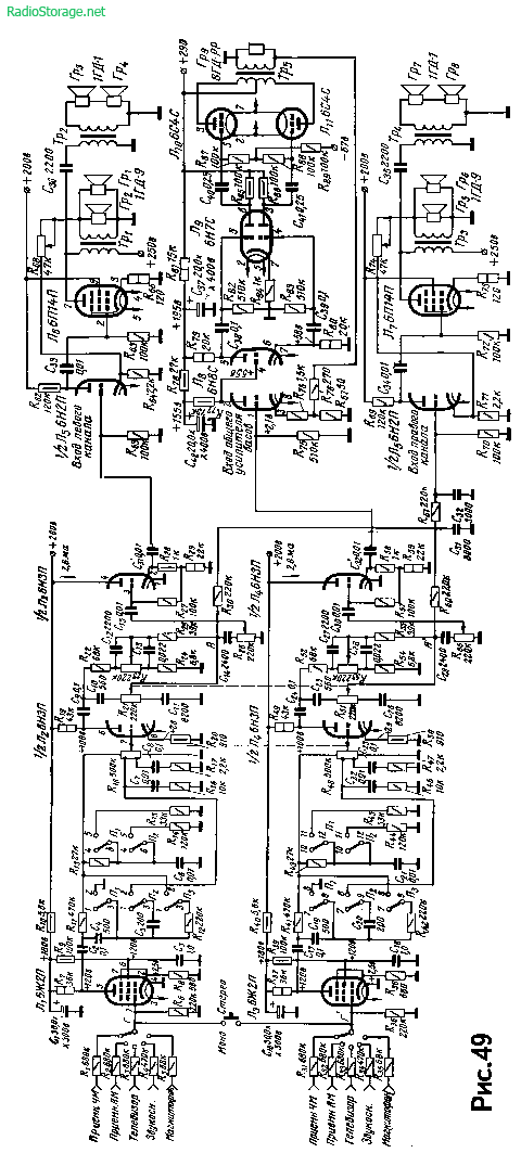 Схема лампового стереоусилителя Ю. Романюка на 5Ж2п, 6Н3П, 6П14П (6Вт+2х2Вт)