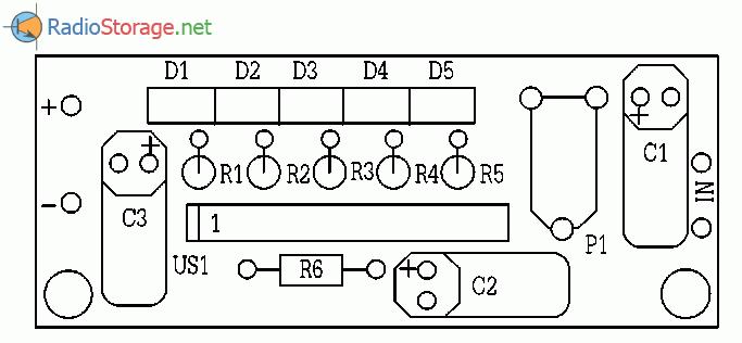 Индикатор уровня сигнала на микросхеме ВА6164(KA2284,AN6884), схема