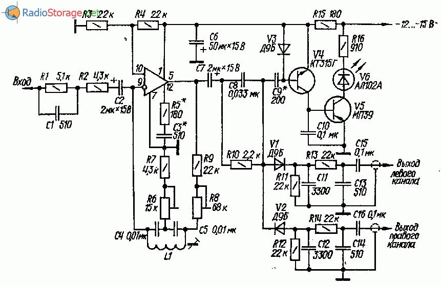 Принципиальная схема стереодекодера на операционном усилителе (ОУ)