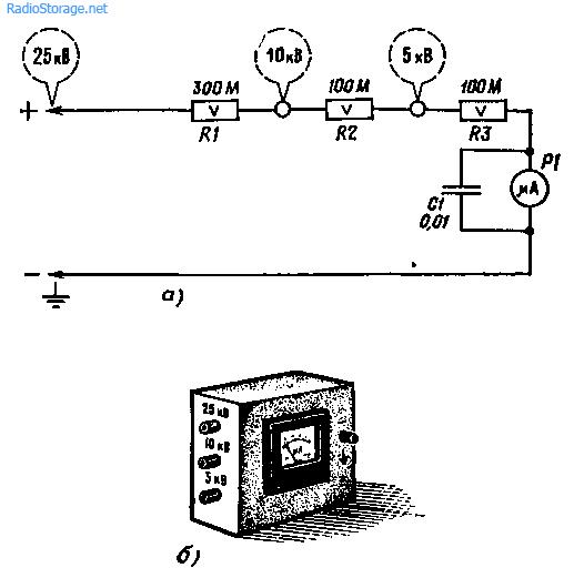 Схема прибора для измерения напряжения до 25 кВ