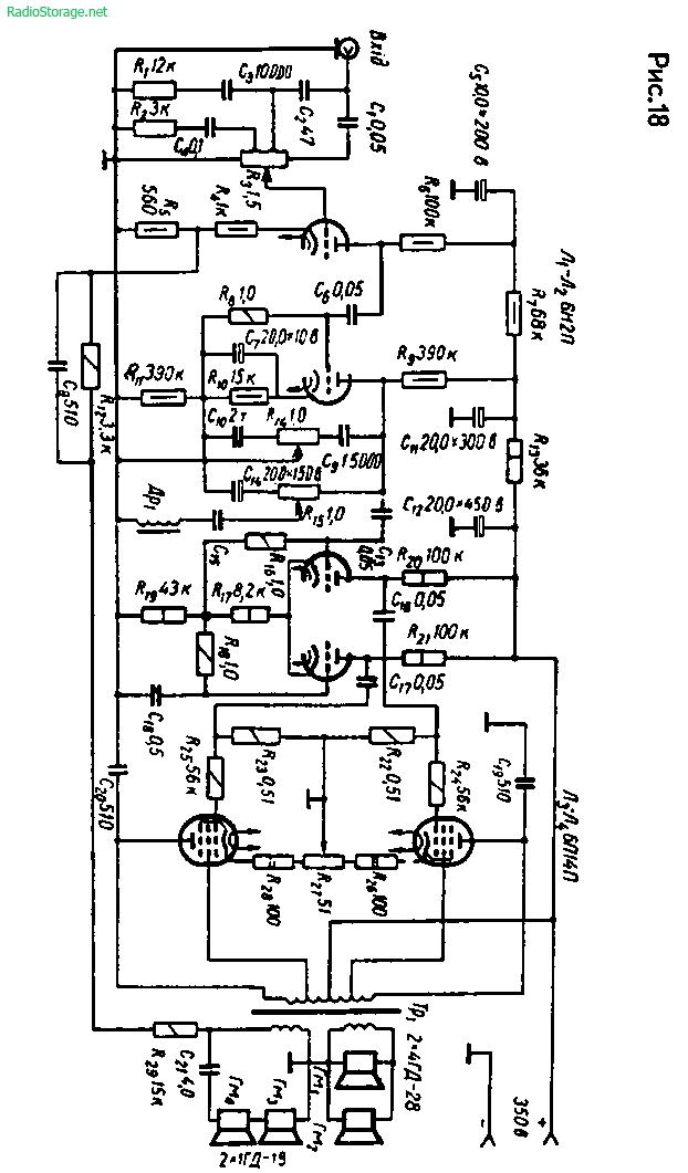 Ламповый УМЗЧ С. Матвиенко на 6Н2П, 6П14П (10Вт)