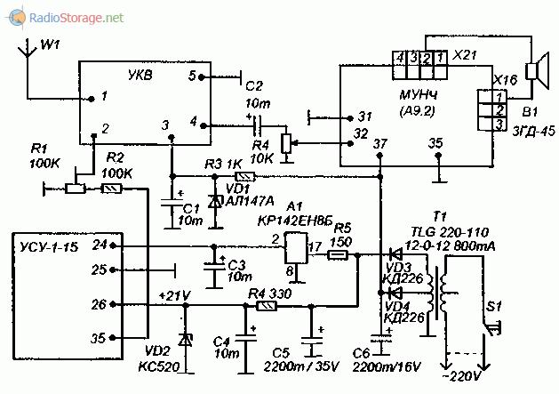 Схема УКВ-ЧМ приемника на основе модулей телевизора 3-УСТЦ