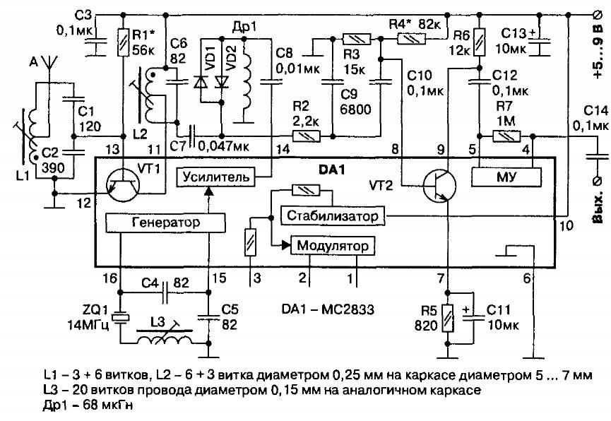 Принципиальная схема радиоприемника 27 МГц на микросхеме МС2833