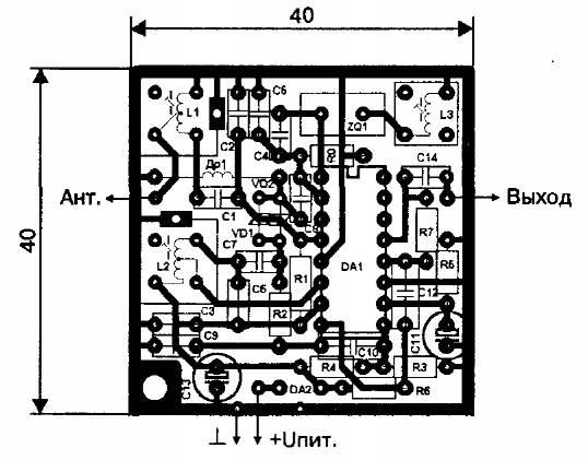 Печатная плата приемника 27 МГц на микросхеме МС2833