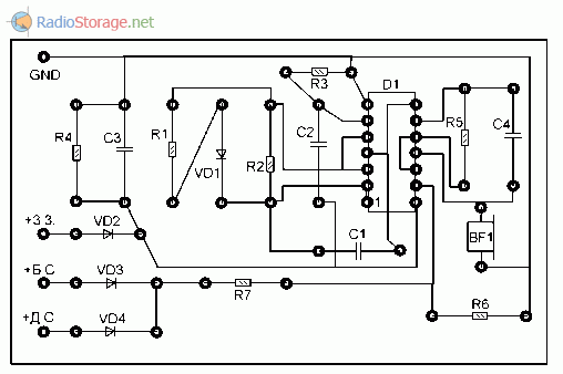 Печатная плата сигнализатора не включенных фар авто