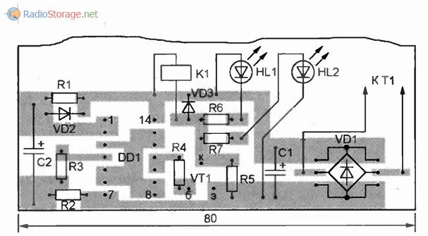 Печатная плата таймера на микросхеме