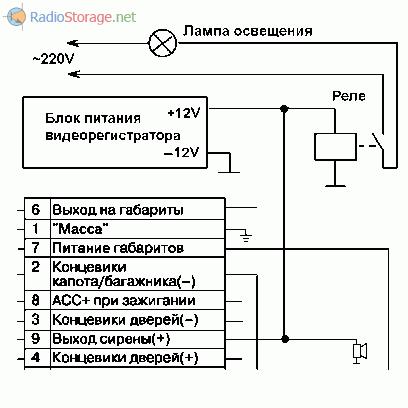Схема подключения видеорегистратора