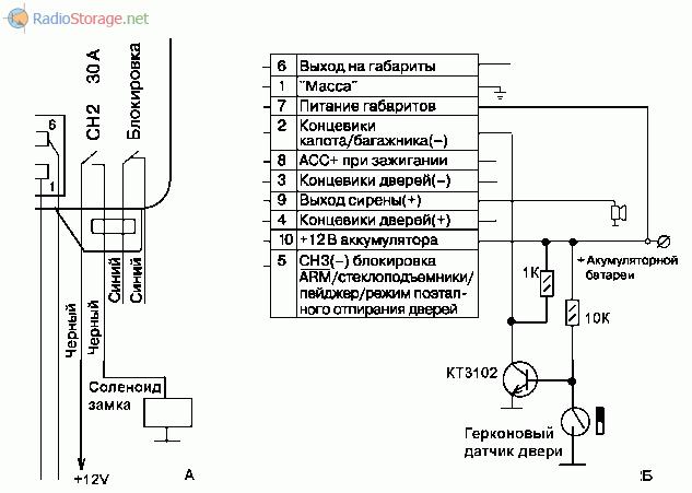 Схема подключения соленоида и каскада на транзисторе к Sheriff APS-35 PRO