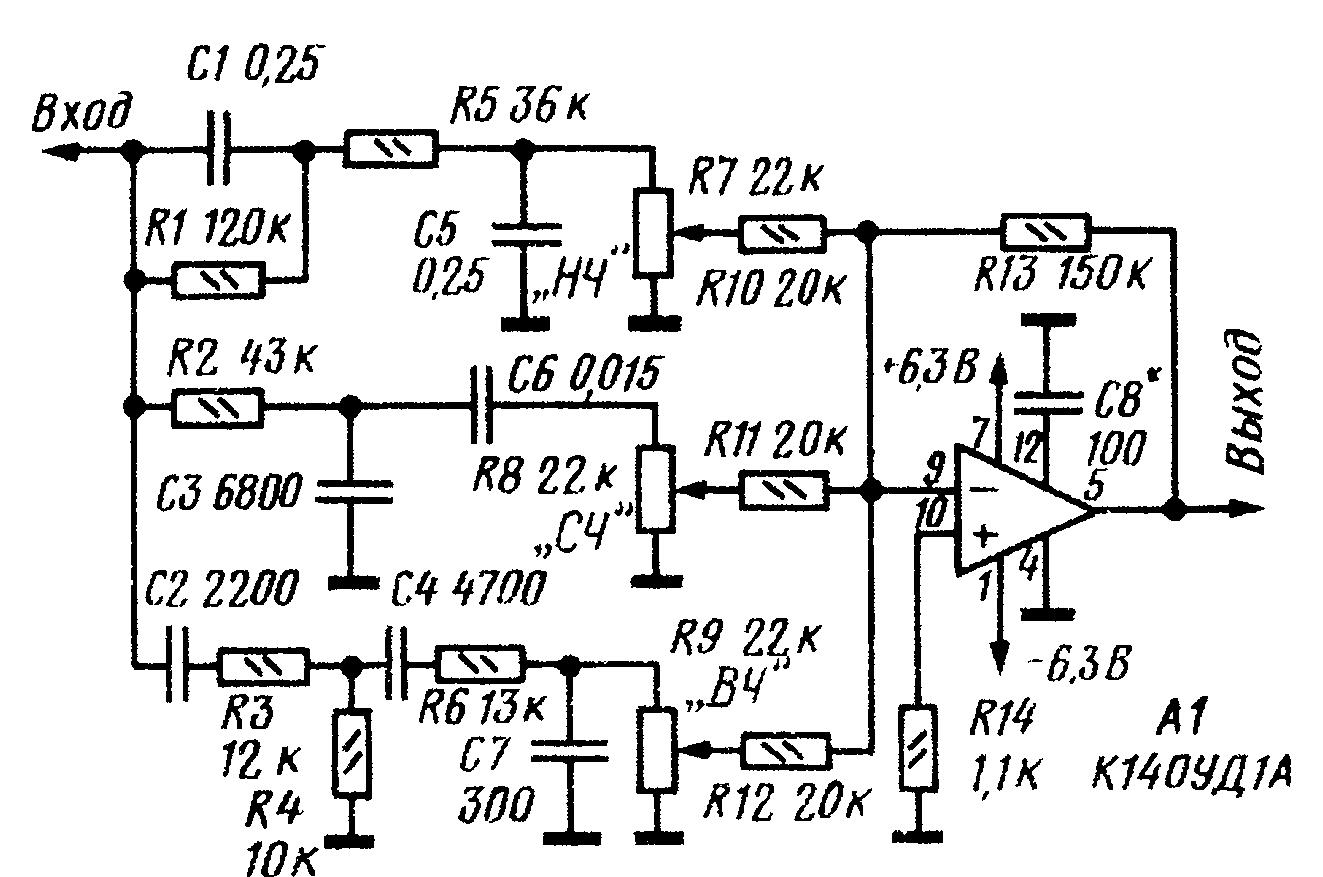 Принципиальная схема простого трехполосного регулятора тембра на микросхеме К140УД1А