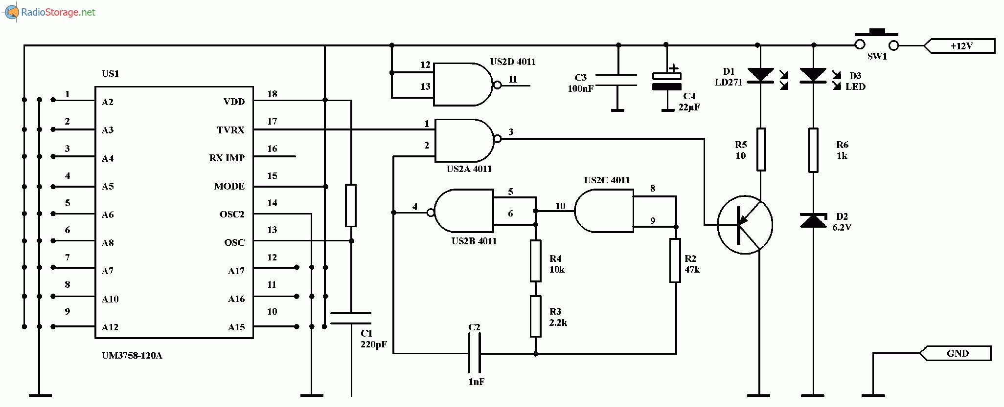 Пульт дистанционного управления на ИК лучах с кодированием (UM3758-120A), схема