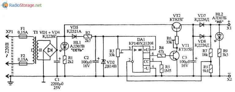 Простое зарядное устройство для автомобильного аккумулятора (ток 1,5А), схема
