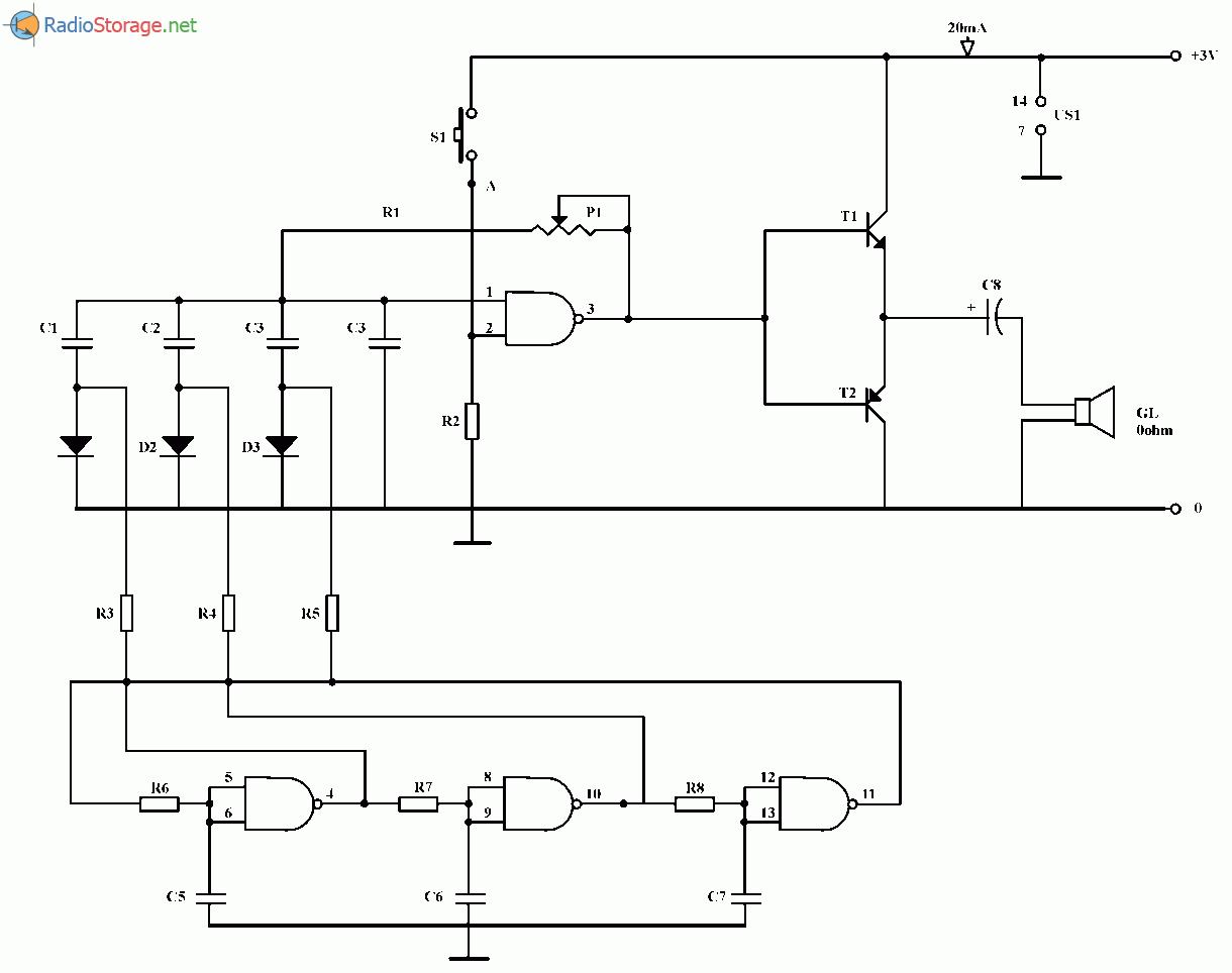 Простой мелодичный звонок на микросхеме 4093 и транзисторах, схема