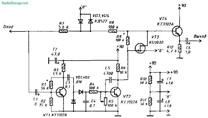 Схема приставки-шумоподавителя ( Noise gate ) для электрогитары