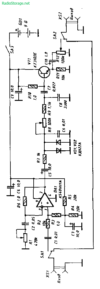 Схема устройства для создания эффекта овердрайв (электрогитара)