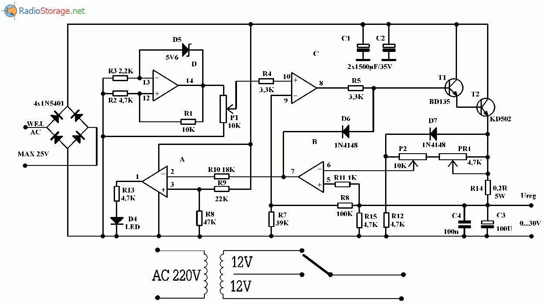 Регулируемый блок питания на ОУ LM324 (0-30В, 2А), схема