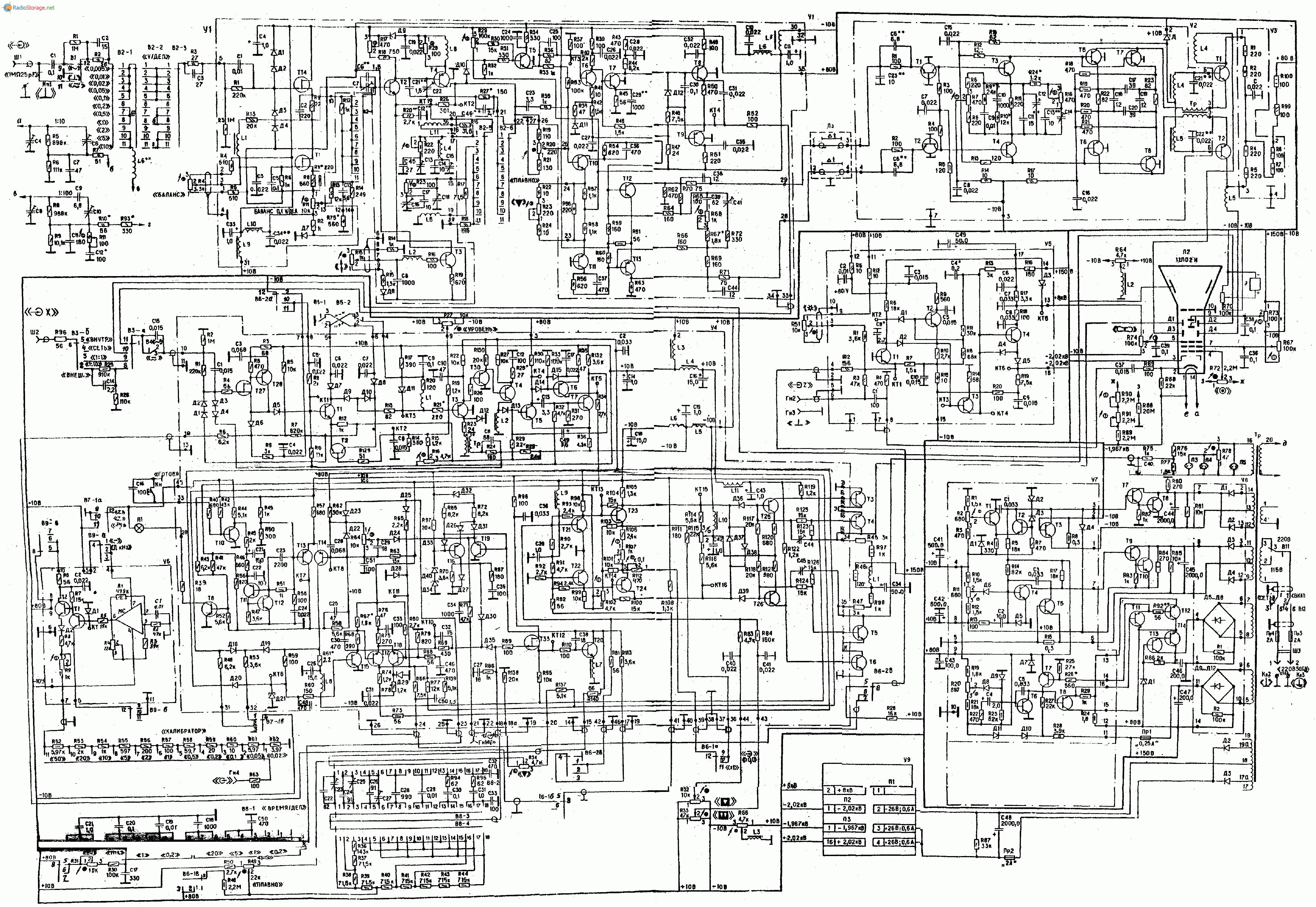 Осциллограф С1-64, схема