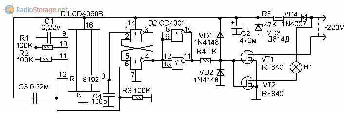 Принципиальная схема таймера для ограничения времени свечения лампы