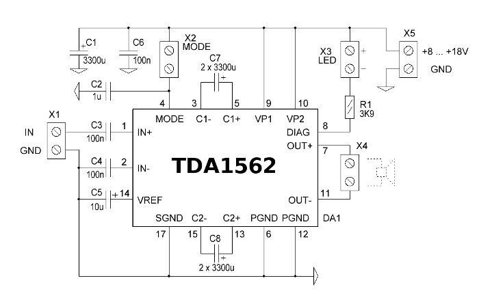 Схема усилителя мощности на микросхеме TDA1562Q (упрощенный вариант)