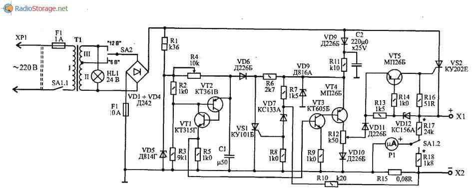 Автоматическое зарядное и восстанавливающее устройство (0-10А), схема