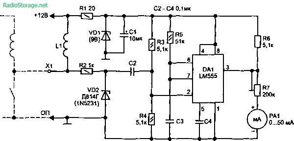 Схема простого тахометра на LM555