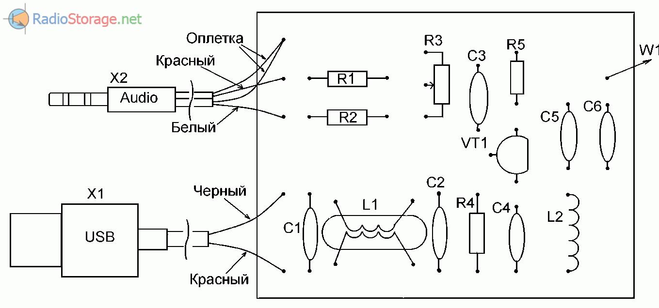 Схема расположения компонентов на плате передатчика и его подключения