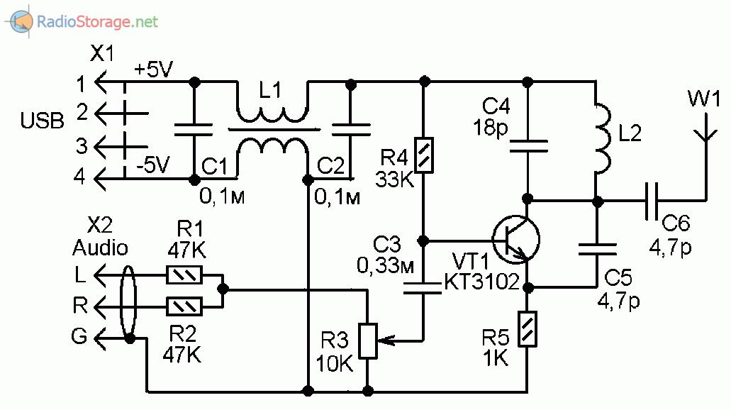 Принципиальная схема простого УКВ-FM радиопередатчика на транзисторе КТ3102