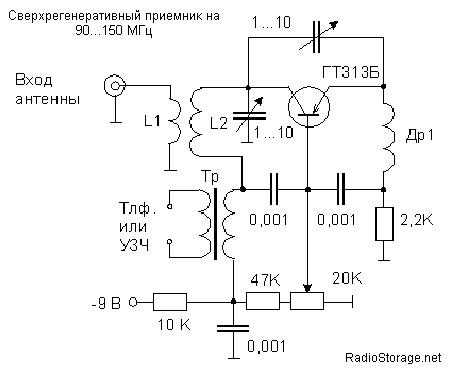 Сверхрегенеративный FM (УКВ) радиоприемник на транзисторе ГТ313, схема