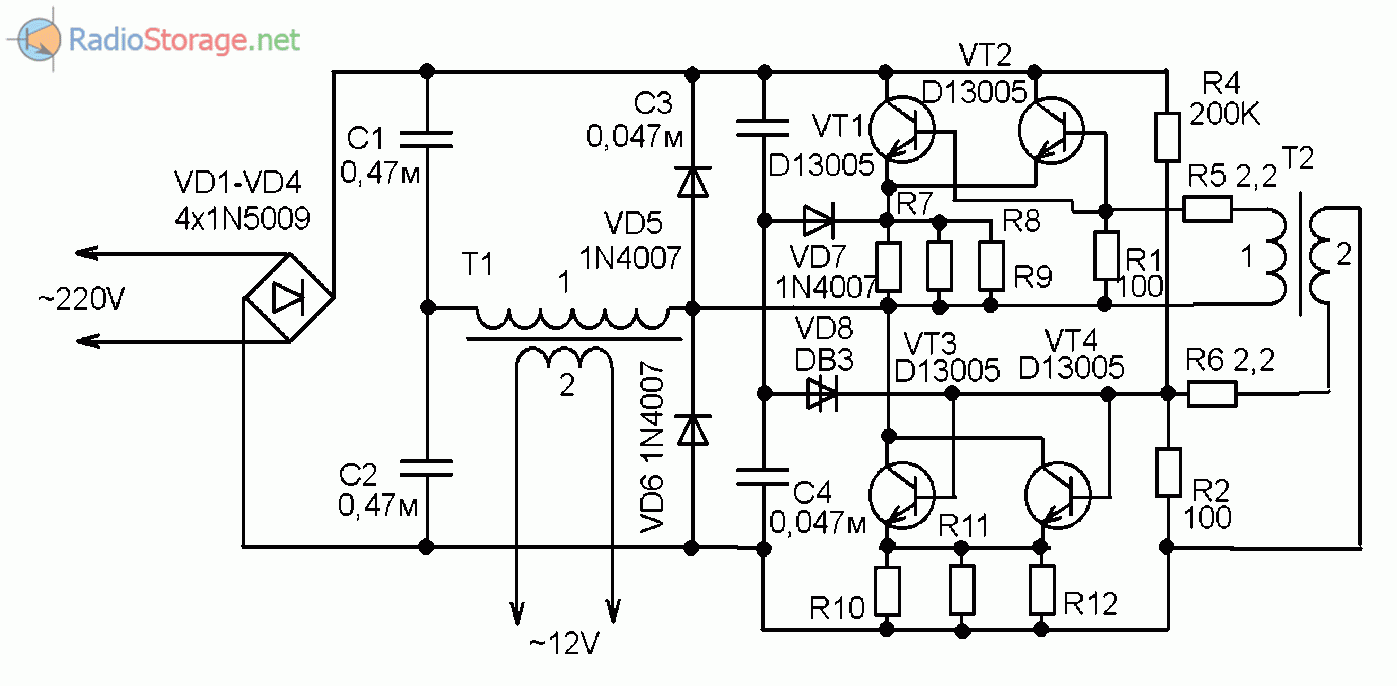 Принципиальная схема китайского электронного трансформатора ЕЕТ200А65