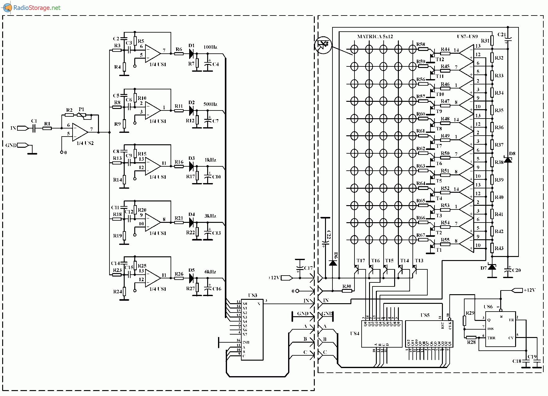 Анализатор спектра (100 Гц, 500 Гц, 1 кГц, 3 кГц и 8 кГц), схема