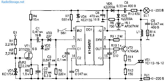 Сенсорный регулятор освещения (К145АП2)