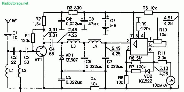 Схема индикатора напряженности поля выполненного на ОУ 140УД6