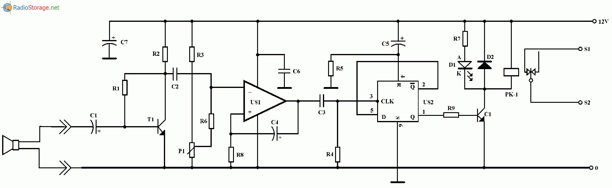 Акустический выключатель электронных устройств, схема
