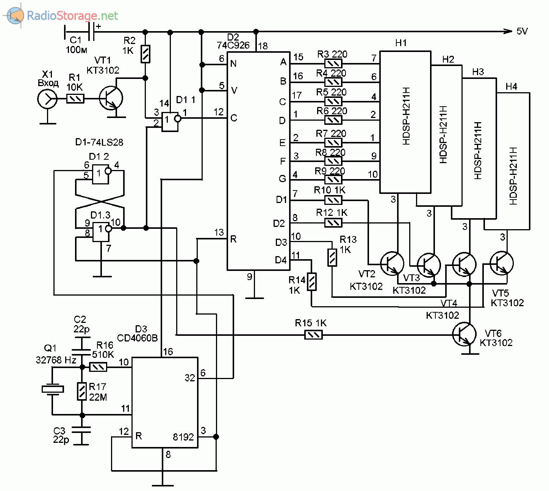 Схема самодельного частотомера на трех микросхемах, измерение частоты до 10МГц