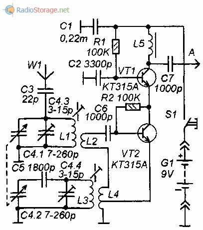 Принципиальная схема простого КВ конвертера на транзисторах КТ315