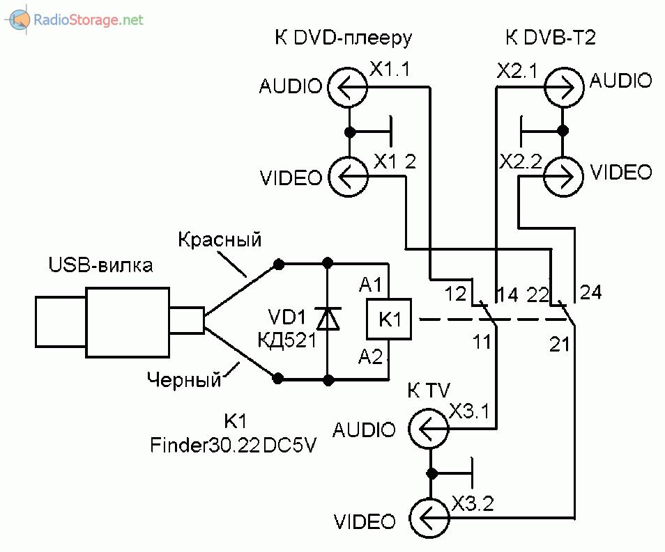 Принципиальная схема переключателя видеовходов с использованием реле