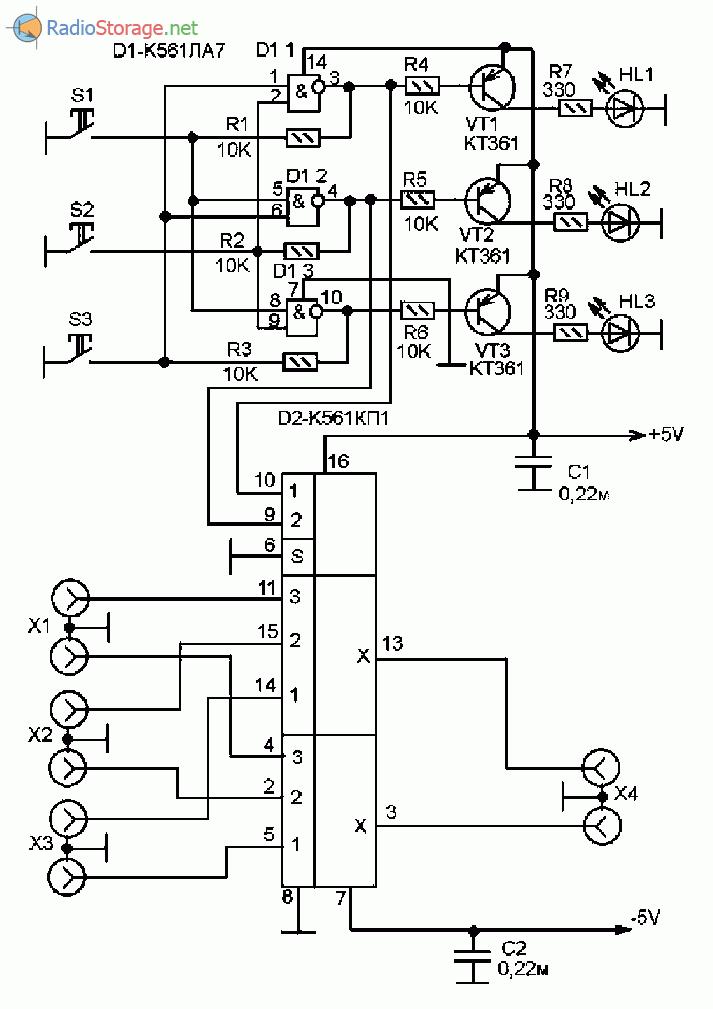 Принципиальная схема электронного коммутатора входов для стерео усилителя мощности