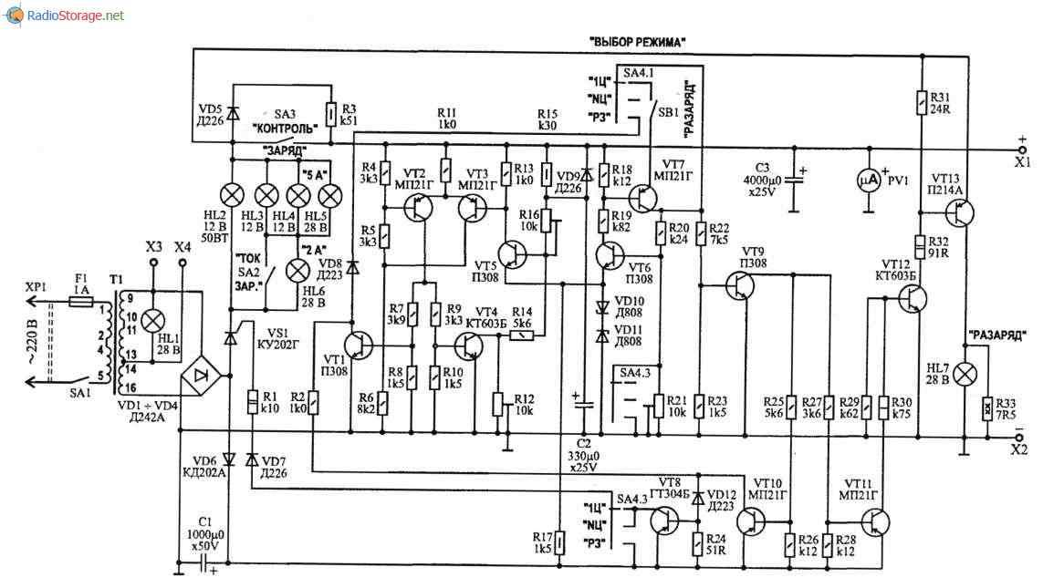 Устройство для автоматической тренеровки аккумуляторов 12В, 40-100Ач, схема