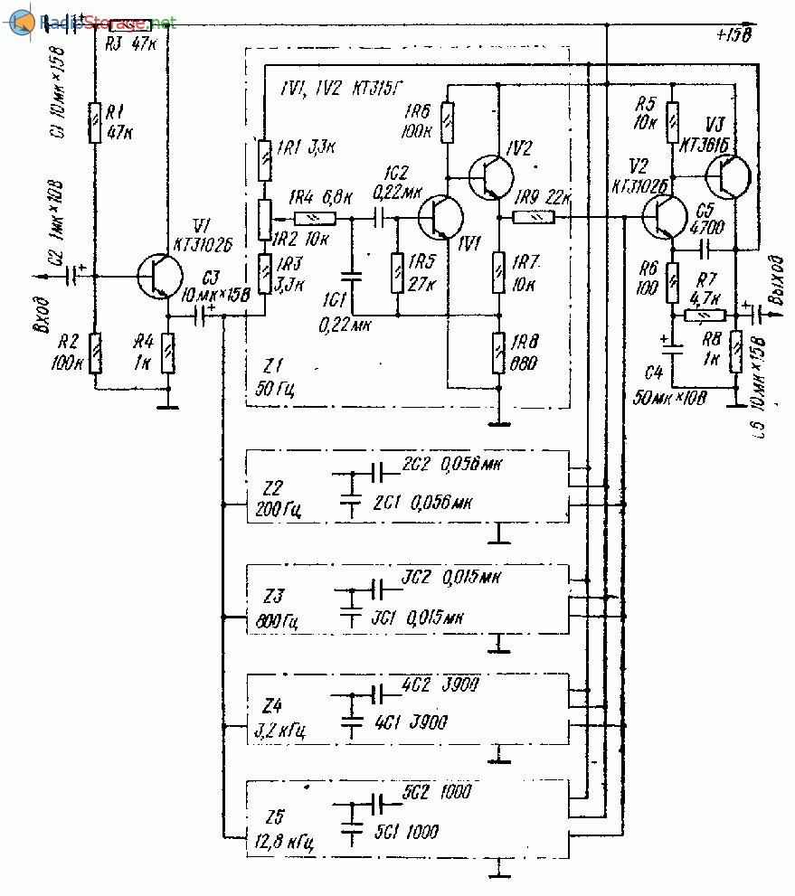 схема высококачественного пятиполосного эквалайзера на транзисторах
