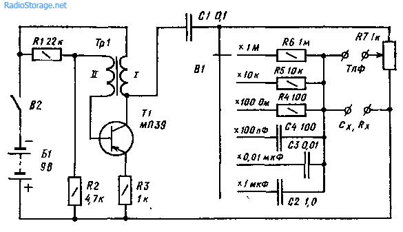 Простой измерительный мост RC на одном транзисторе