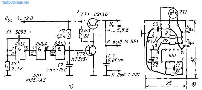 Схемы малоамощных стабилизаторов напряжения (5В, до 1А)