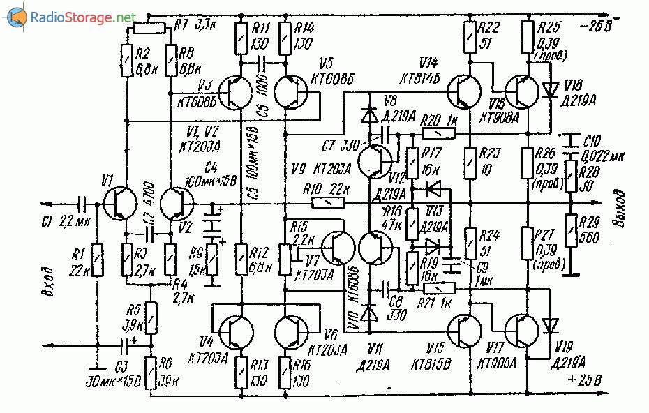 УНЧ на транзисторах с малыми динамическими искажениями (20 Ватт)