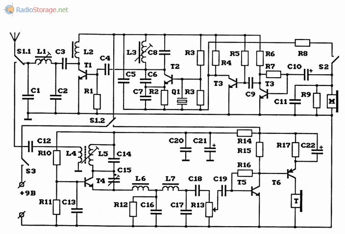 Схема простой самодельной AM-радиостанции на 27МГц выполненной на транзисторах
