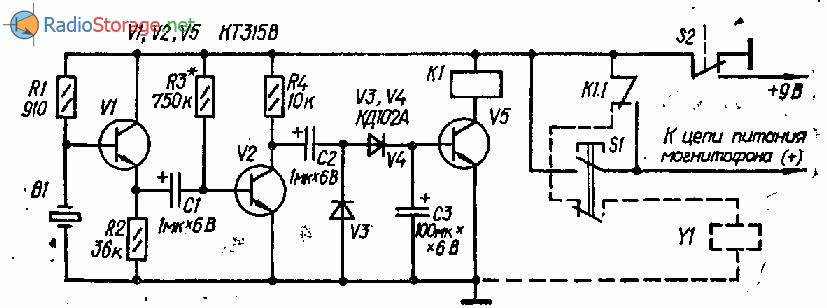 Система магнитофонного автостопа на пьезоэлементе