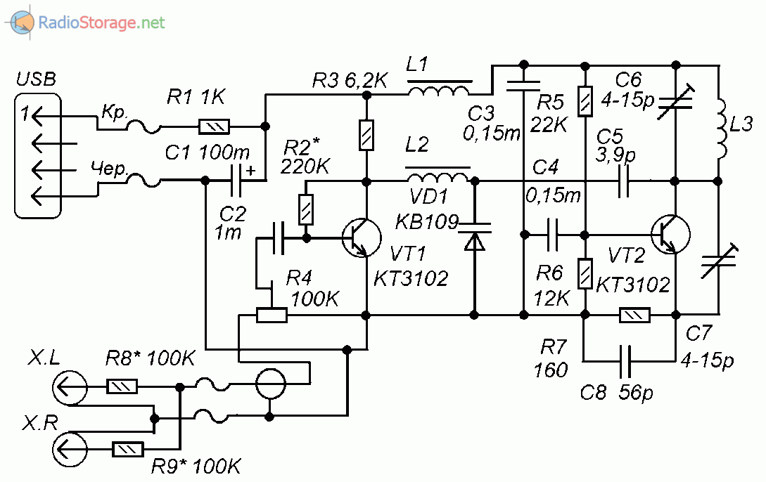 Принципиальная схема УКВ (FM) радиопередатчика с питанием от USB-порта ПК
