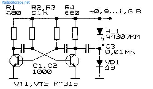 Преобразователь для питания светодиода от низковольтного источника 0,8 - 1,6В