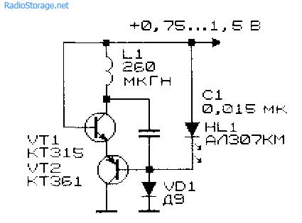 Схема простого низковольтного преобразователя напряжения 0,75В -1,5В в 2В на основе LC-генератора